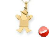 The Kids® Solid Engraveable Boy with Hat on Right Charm / Pendant style: XK205