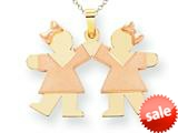The Kids® Small Double Girls Engraveable Charm / Pendant