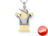 The Kids® Puffed Boy with Hat on Right Engraveable Charm / Pendant style: XK580