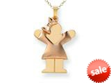 The Kids® Puffed Girl with Bow on Left Engraveable Charm / Pendant style: XK586