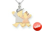 The Kids® Big Boy and Little Girl Engraveable Charm / Pendant style: XK642
