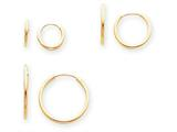 14k Madi K Polished 3-pair Set - Endless Hoop Children Earrings style: SE1293
