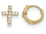 "14k Gold Polished Cz Cross Children""s Hinged Hoop Earrings style: SE2465"