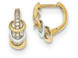 "14k Gold Polished Cz Children""s Hinged Hoop Earrings style: SE2484"