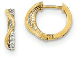 "14k Gold Polished Cz Children""s Hinged Hoop Earrings style: SE2485"