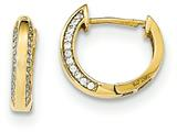 "14k Gold Polished Cz Children""s Hinged Hoop Earrings style: SE2486"