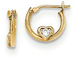 "14k Gold Polished Cz Heart Children""s Hoop Earrings style: SE2488"