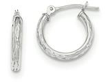 "14k White Gold Diamond Cut Children""s Hoop Earrings style: SE2496"