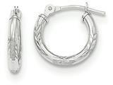 "14k White Gold Diamond Cut Laser Cut Children""s Hoop Earrings style: SE2498"