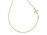 14k Large Sideways Curved Cross Necklace style: SF2082