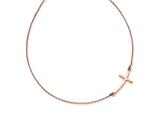 14k Rose Gold Large Sideways Curved Cross Necklace style: SF2085