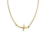 14k Small Sideways Curved Twist Cross Necklace style: SF2086