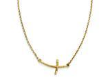 14k Small Sideways Curved Twist Cross Necklace style: SF2086