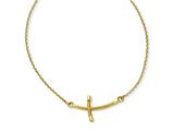 14k Large Sideways Curved Twist Cross Necklace style: SF2090