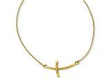 14k Large Sideways Curved Twist Cross Necklace style: SF2090