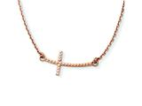14k Rose Gold Sideways Curved Textured Cross Necklace style: SF2093