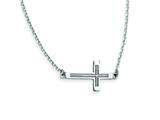 14k White Gold Sideways Cut-out Cross Necklace style: SF2095