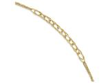 8 Inch 14k Gold Polished Textured Fancy Link Double Chain Bracelet Bracelet style: SF22308