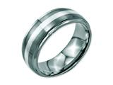 Chisel Stainless Steel Sterling Silver Inlay Ridged Edge Brushed And Polished Weeding Band style: SR120