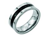 Chisel Stainless Steel Black Carbon Fiber Flat 8mm Polished Weeding Band style: SR123