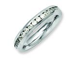Chisel Stainless Steel 4mm April Clear CZ Ring style: SR127