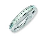 Chisel Stainless Steel 4mm December Teal CZ Ring style: SR130