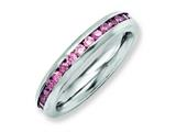Chisel Stainless Steel 4mm June Pink CZ Ring style: SR134