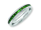 Chisel Stainless Steel 4mm May Green CZ Ring style: SR136