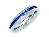 Chisel Stainless Steel 4mm September Blue CZ Ring style: SR139