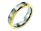Chisel Stainless Steel Beveled Edge 5mm Brushed/polished Yellow Ip-plated Weeding Band style: SR145