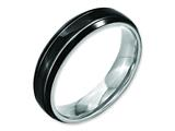 Chisel Stainless Steel Grooved and Polished 6mm Black Ip-plated Weeding Band style: SR148