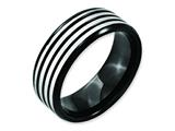 Chisel Stainless Steel Striped 8mm Black Ip-plated Brushed/polished Weeding Band style: SR155