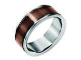 Chisel Stainless Steel 8mm Brown Ip-plated Brushed and Polished Weeding Band style: SR157