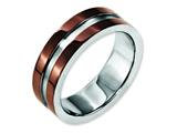 Chisel Stainless Steel 8mm Brown Ip-plated Polished W/brushed Center Weeding Band style: SR158