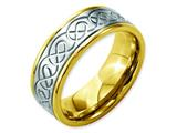 Chisel Stainless Steel 8mm Yellow Ip-plated Brushed and Polished Weeding Band style: SR159
