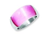 "Chisel Stainless Steel 12mm Pink Cat""s Eye Ring style: SR180"
