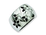 Chisel Stainless Steel Black and White Enamel Flowers W/cz Ring style: SR183