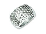 Chisel Stainless Steel  White CZs Polished Size 6 Ring style: SR184