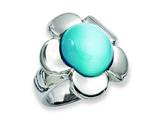 Chisel Stainless Steel Blue Agate Flower Ring style: SR192