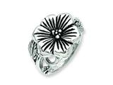 Chisel Stainless Steel Antique Finish Flower Ring style: SR202
