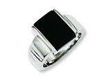 Chisel Stainless Steel Black Glass Size 7 Ring style: SR228