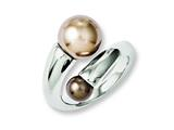 Chisel Stainless Steel Champagne and Brown Simulated Pearl Ring style: SR231