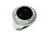 Chisel Stainless Steel Black Glass W/textured Edge Size 7 Ring style: SR234