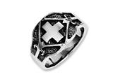 Chisel Stainless Steel Polished and Antiqued Cross Ring style: SR235