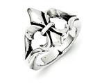 Chisel Stainless Steel Polished and Antiqued Fleur De Lis Ring style: SR236