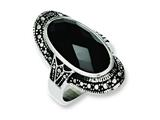 Chisel Stainless Steel Black Glass Antiqued  Ring style: SR238