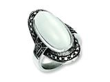 "Chisel Stainless Steel Antiqued and White Cat""s Eye Size 7 Ring style: SR239"