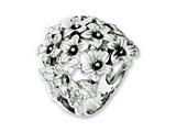 Chisel Stainless Steel Antiqued Flowers  Ring style: SR241