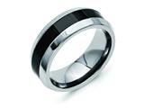 Chisel Stainless Steel Base W/polished Black Ceramic Center Beveled Weeding Band style: SR249