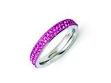 Chisel Stainless Steel 4mm Polished Pink Crystal Ring style: SR262